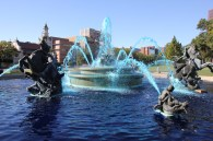 Kansas City fountain with the water dyed blue in Country Club Plaza