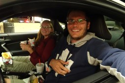 Eating in the car at Sonic Drive-In