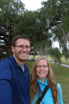 Selfie with the huge oak trees at City Park in New Orleans, Louisiana