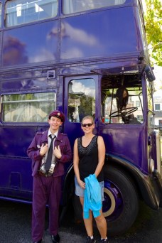 Anna with Stan and the Knight Bus from Harry Potter at Universal Studios Orlando, Florida