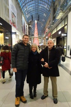 Ben with Mom and Dad at the Eaton's Centre in Toronto