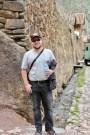 Matt admiring the sidewalk streams in Ollantaytambo, Peru