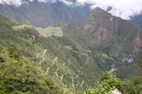View of Machu Picchu - and the winding road leading up to it, Peru