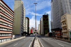 This expressway in Sao Paulo is closed to cars on Sundays so pedestrians can enjoy it
