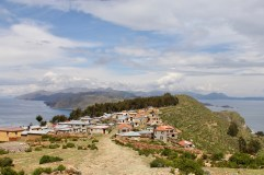 View of one of the three towns on Isla del Sol, Lake Titicaca, Bolivia
