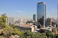 View of Santiago from Santa Lucia Hill (a park and castle in the middle of the city), Chile