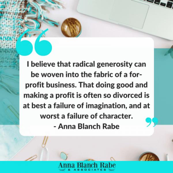 radical generosity Anna Rabe