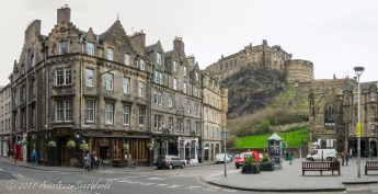 View of the castle from Grassmarket