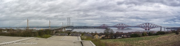 Heading out of the city we stopped to see the three bridges next to one another and crossing the Firth of Forth. From the right red Forth bridge, in the middle Forth Road Bridge and on the left Queensferry Crossing which is still being built.
