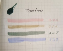 Tombow Brush Marker Swatches