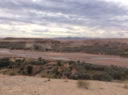 Dust in the wind over river bed