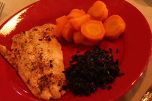 Salmon (<3), black rice, and carrots. From the garden. Because carrots ARE READY IN MAY IN CALIFORNIA. what.
