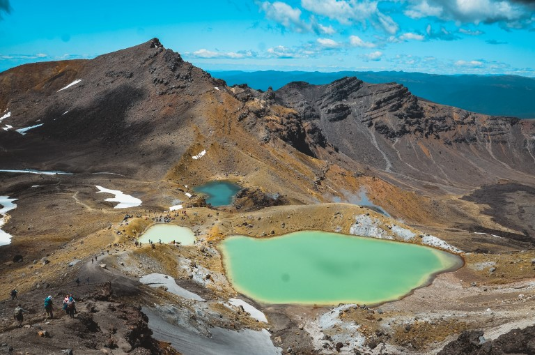 Famous emerald lakes on tongariro alpine crossing