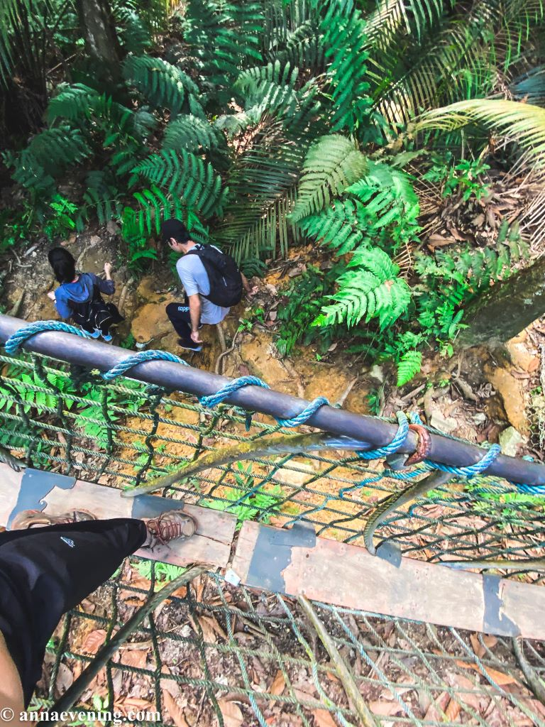 A top view of a pair of legs on a suspension bridge and two people crossing the bridge from underneath