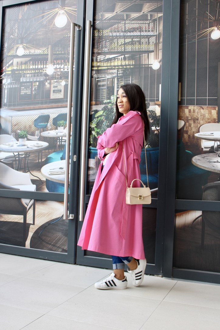 look printemps trench oversize rose