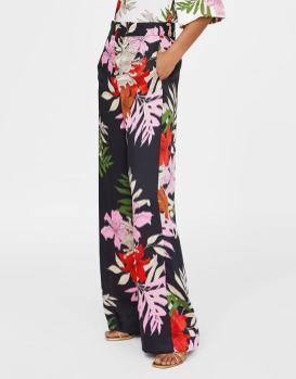 pantalon large imprime fleuri