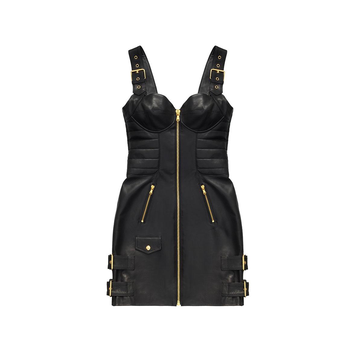 robe cuir MOSCHINO x H&M