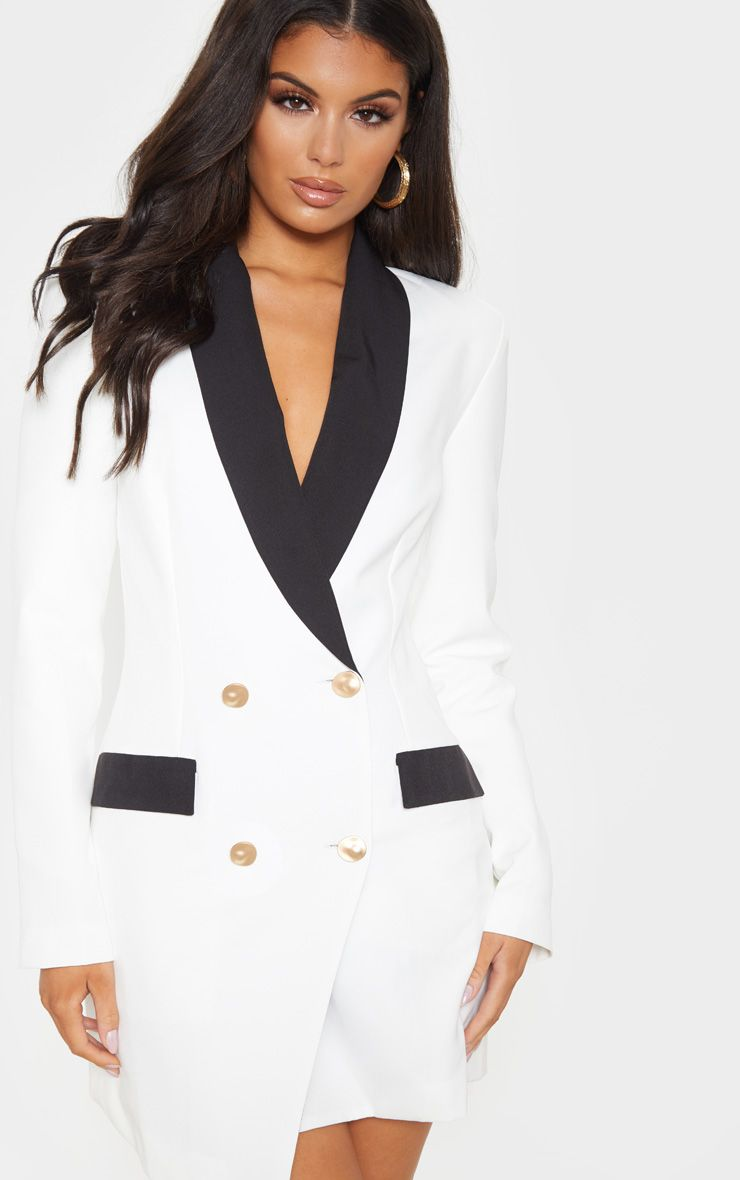 robe-blazer col noir prettylittlething