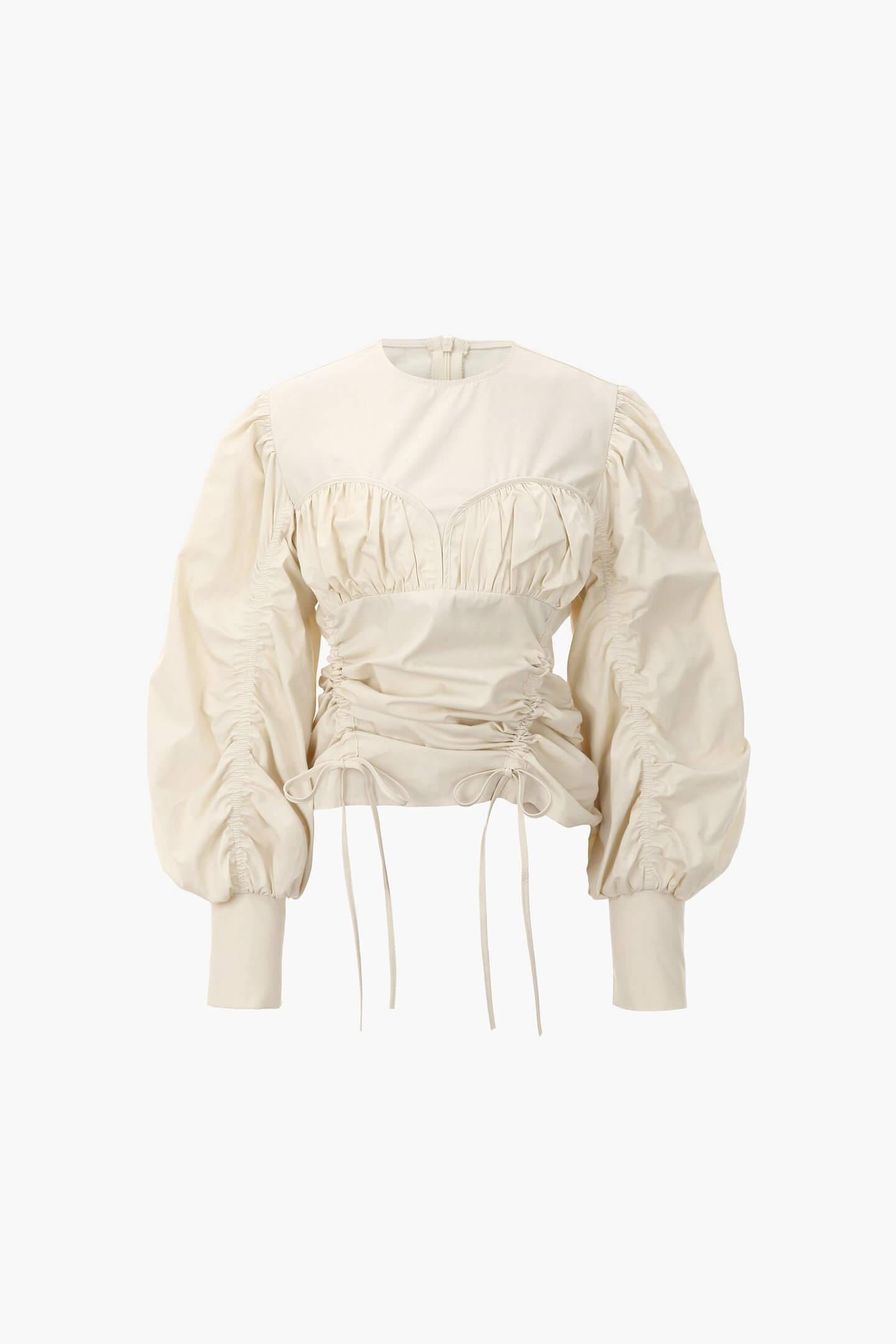 blouse beige manches bouffantes