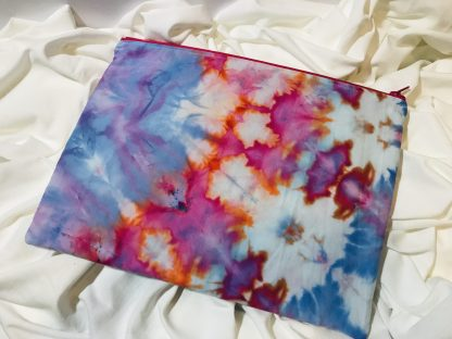 Hand Dyed Pink and Blue Large Zip Bag