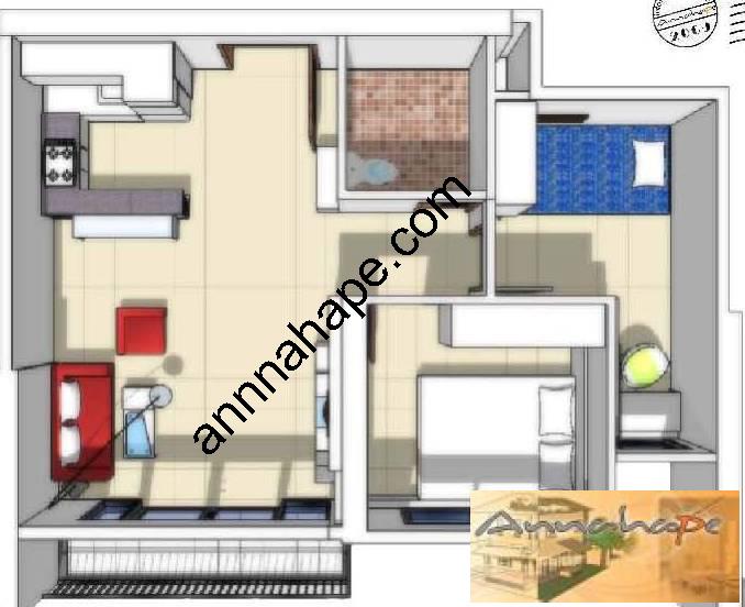 denah interior apartemen hampton