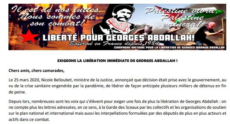 Appel pour exiger la libération immédiate de Georges Abdallah