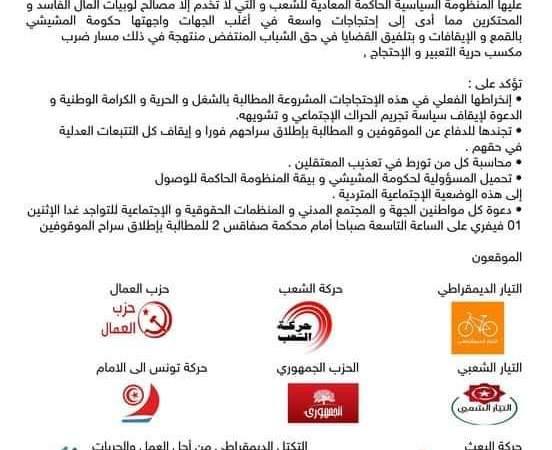 تونس: التنظيمات السياسية والمدنية إنخراطها الفعلي في الاحتجاجات المشروعة المطالبة بالشغل والحرية والكرامة الوطنية