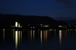 Beautiful Evening View and Reflection of the Church of the Assumption in Lake Bled, Slovenia