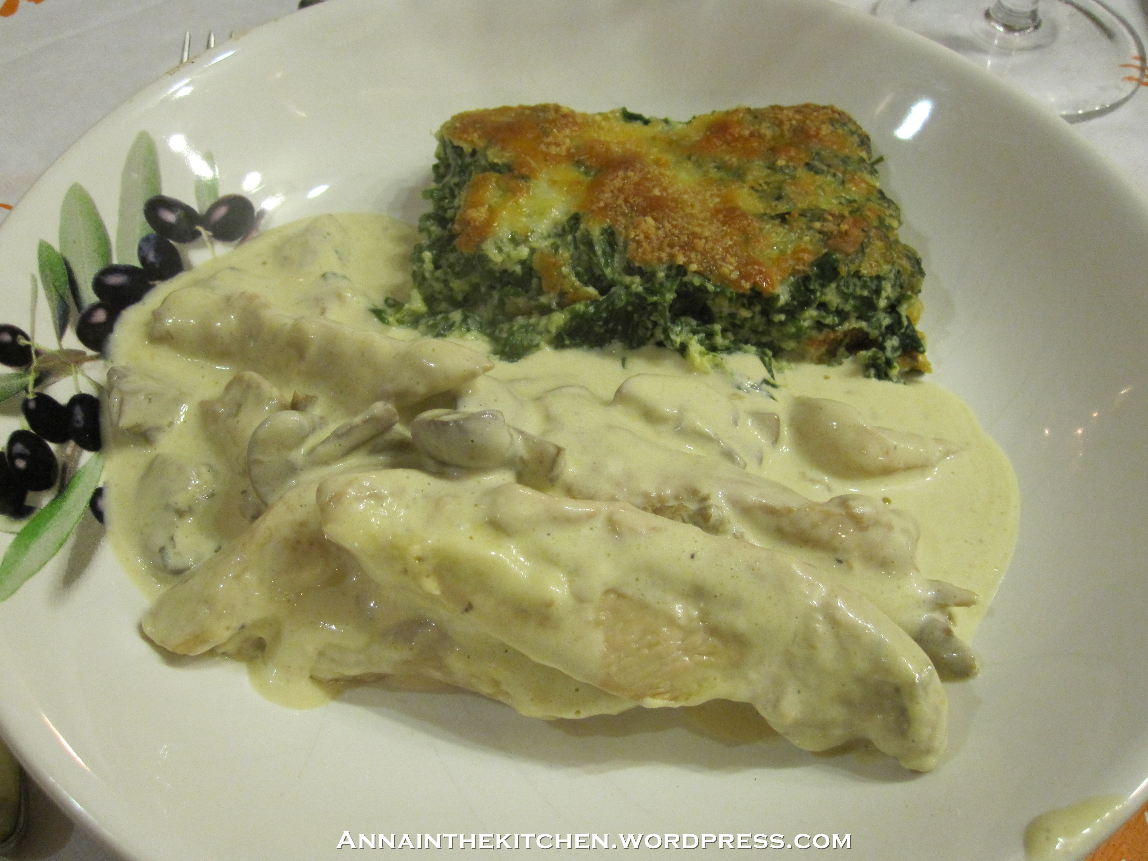 Chicken and mushrooms in a brandy cream sauce with spinach and ricotta bake
