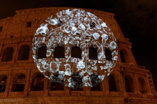 Live bacteria projected on the Colosseum