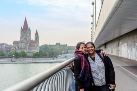 On Reichsbrücke above Danube