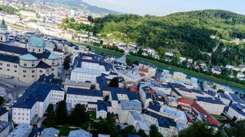 Salzburg rooftops from Hohensalzburg castle