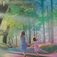 Mom and Daughter walking down a path