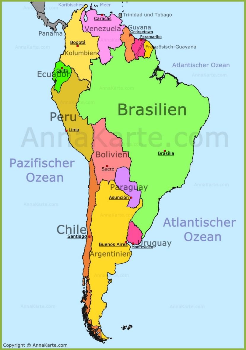 Uruguay umfasst eine fläche von insgesamt 176.215 km². Südamerika Karte - AnnaKarte.com