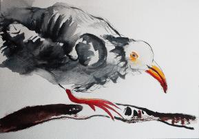 watercolor illustration bird branch