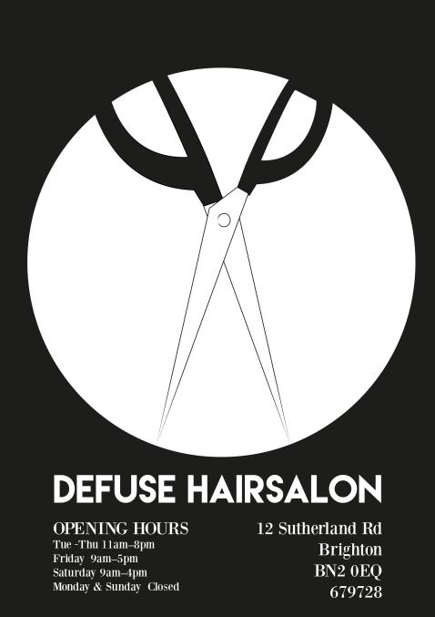 Flyer for Defuse Hair Salon