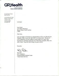 Georgia Regents Tissue Donor Services Letter