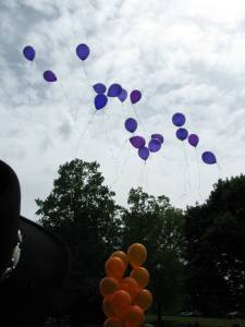 Purple balloons leaving