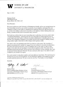 University of Washington School of Law Letter