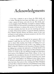 Dee & Willie Mills Acknowledgments