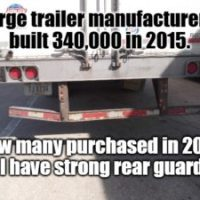 Large trailer manufacturers built 340,000 in 2015. How many purchased in 2017 will have strong rear guards?