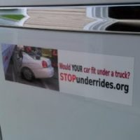 Reach Every State to STOP Crash Underrides Everywhere! (RESSCUE) Bumper Sticker Project
