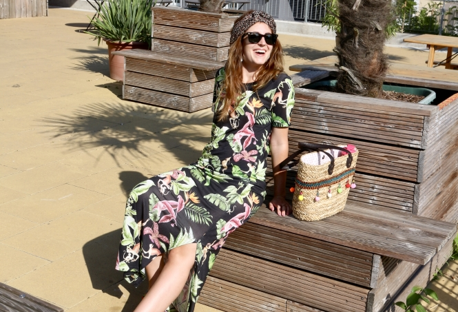 sommer outfit all over muster druck tropical monkey maxikleid
