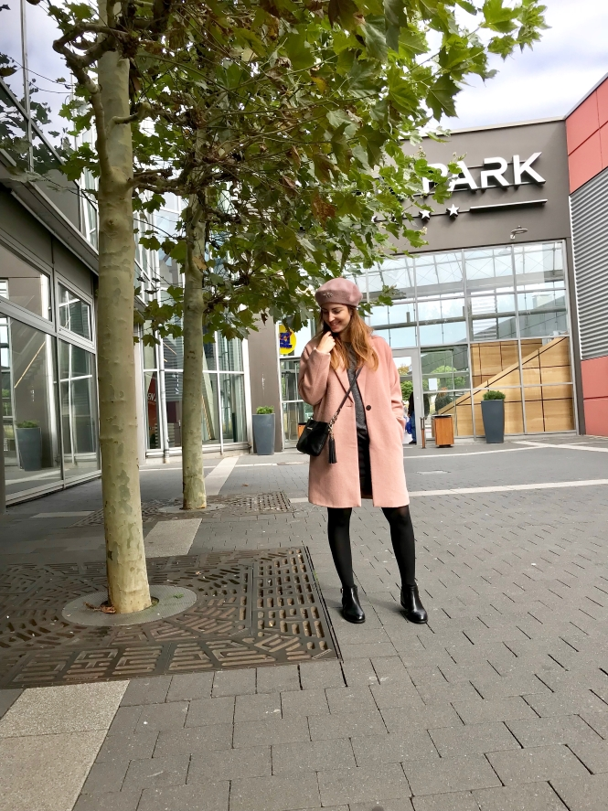 rosa Wollmantel H&M shop meinen look rosa Mütze Hut