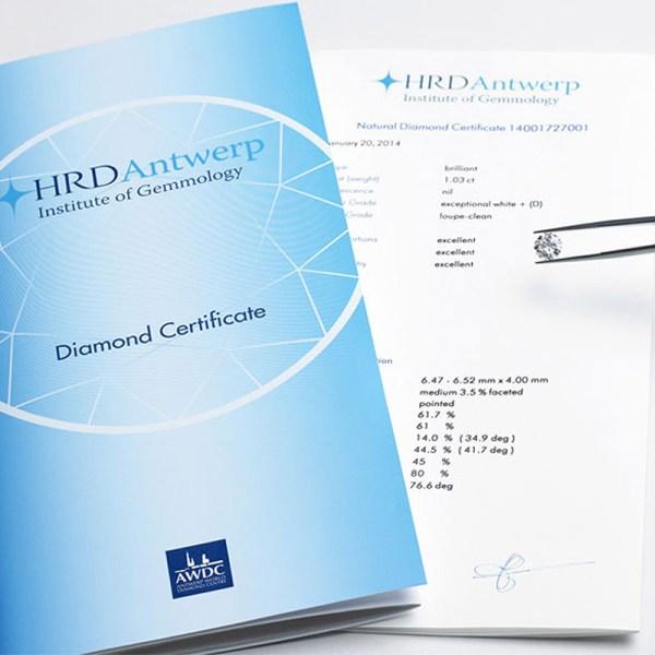 Certificado gemológico diamantes HRD.