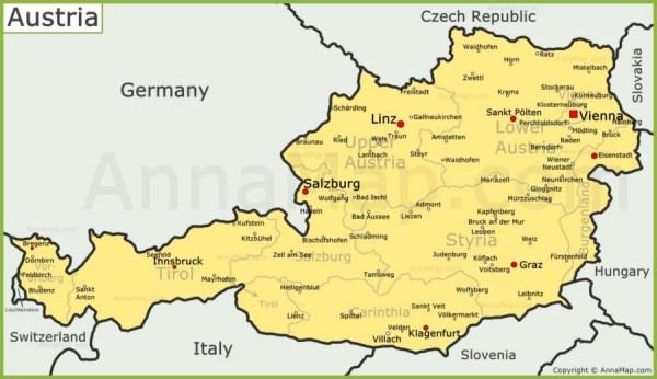 Austria Map Map of Austria AnnaMapcom