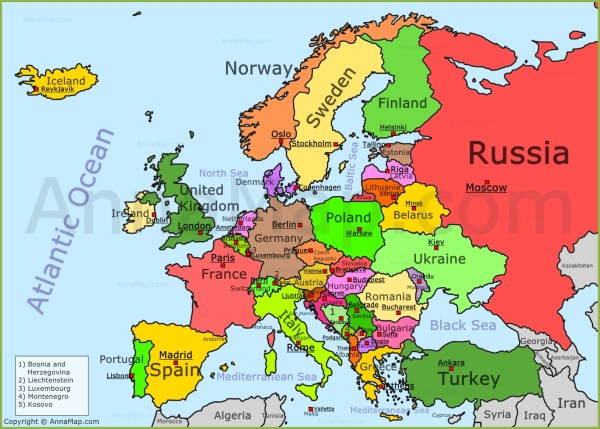 Europe Map Political map of Europe with countries AnnaMapcom
