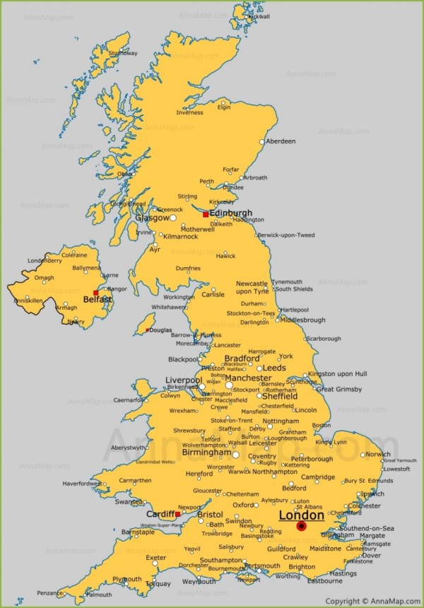 United Kingdom cities map Cities and towns in UK