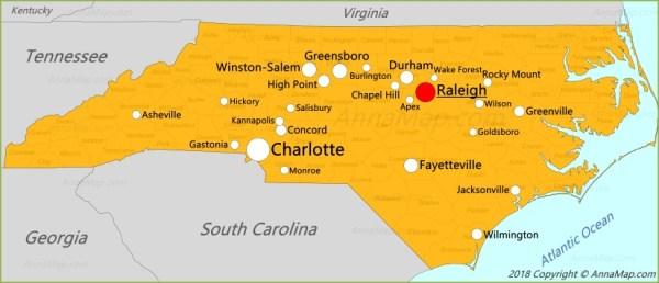 North Carolina Map United States Map of North Carolina