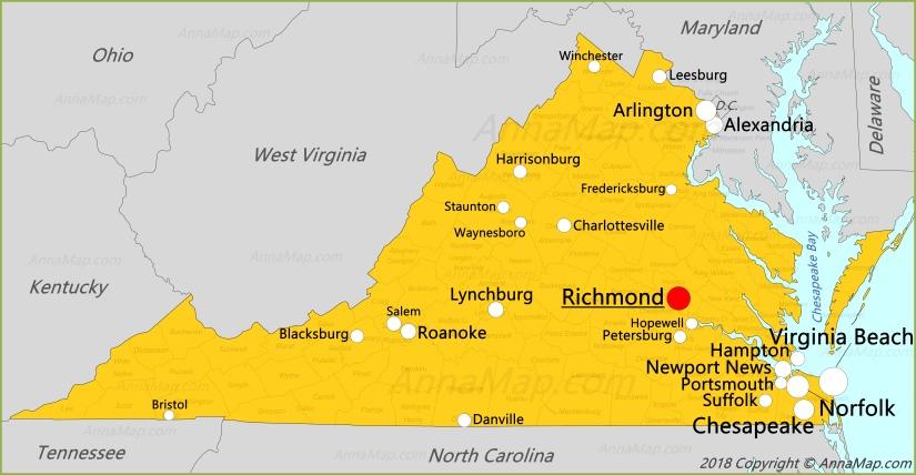 Virginia Map United States Map Of Virginia Annamap Com